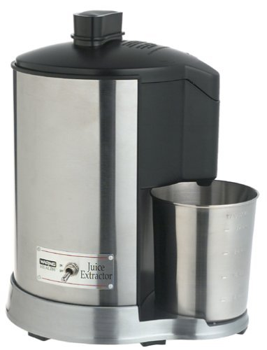 Waring Pro Health 400 Watt Juice Extractor Features Extra Wide Feed Tube with Stainless Steel Housing and Dishwasher Safe Parts