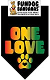 BANDANA - ONE LOVE for Medium to Large Dogs - black with Rasta Colored ink