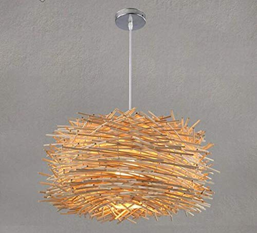 Oudan Pendant Lamp Chandelier Restaurant Light Bird's Nest?Manual Living Room?Natural?35Cm (35 Cm Natural)