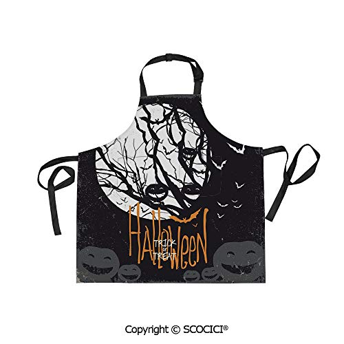 SCOCICI Fabric Durable Unisex Apron with 2 Pockets-Extra Long Ties, Halloween Themed Image with Full Moon and Jack o Lanterns on a Tree Decorative,Home Baking or Kitchen -