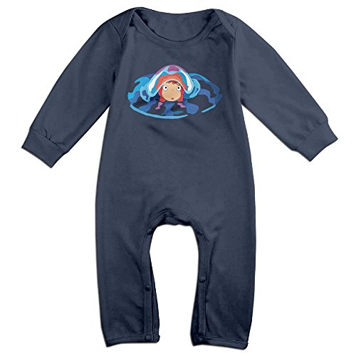 Price comparison product image PCY Newborn Babys Boy's & Girl's Ponyo Animated Movie Poster Long Sleeve Baby Climbing Clothes For 6-24 Months Navy Size 24 Months