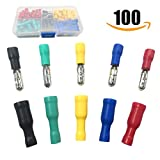 Bullet Butt Connectors, Sopoby 100pcs Assorted Insulated Female & Male Crimp Wire Terminals Brass, 22-16 AWG, 5 Colors