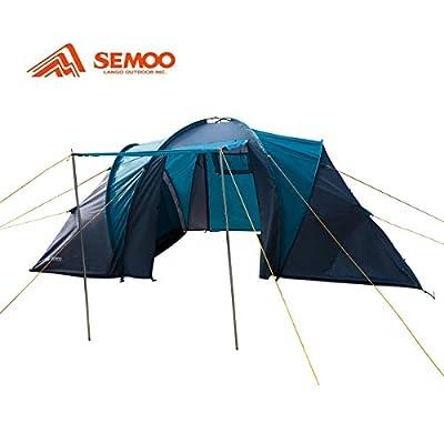 Semoo 100% Waterproof,4-Person,2 Doors,2 room,1 Vestibule, 3 Season Family Tent For Camping with Compression Bag