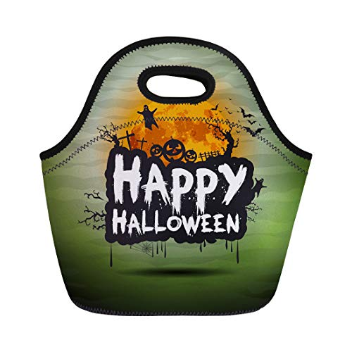 Semtomn Lunch Tote Bag Happy Halloween Night Sign Text Flying Moon Party Celebration Reusable Neoprene Insulated Thermal Outdoor Picnic Lunchbox for Men Women