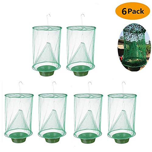 xivqiuny Ranch Fly Trap Outdoor, 2019 New Effective Trap Ever Made Fishing Apparatus with Food Bait Flay Catcher for Indoor or Outdoor Family Farms, Park, Restaurants 6Pack (Best Fly Fishing Gear 2019)