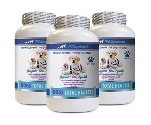 PET SUPPLEMENTS Coat Care for Dogs - Dog Total Health Complex - Eye Teeth Hair Joint Support - Advanced - Vitamin d for Dogs - 3 Bottles (180 Tablets)