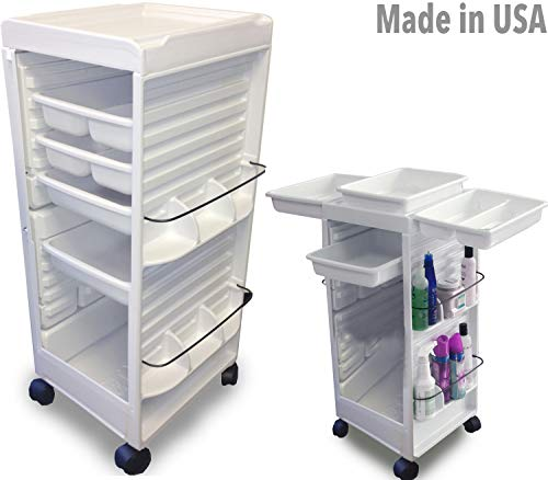 Trolley Facial - N20E HF Aesthetician Roll-About Facial Cart Trolley White Non Lockable Made in USA by Dina Meri