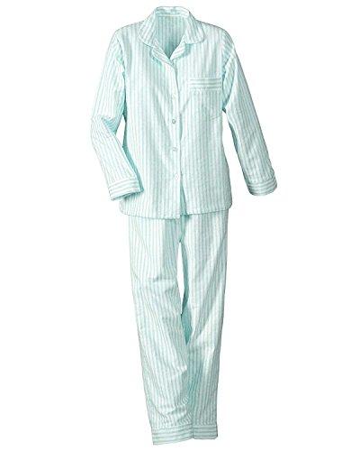 (National Long Sleeve Woven Striped Pajamas, Aqua, Petite XL - Petites Long Sleeve)