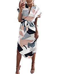 Womens Summer Dresses V-Neck Casual Work Geometric...