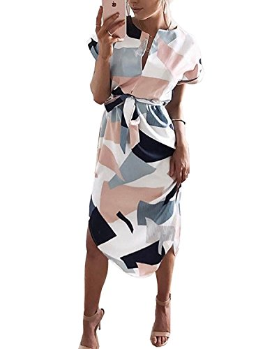 PORALA Womens Summer Dresses V-Neck Casual Geometric Pattern Midi Floral Print Belted Dress, White, X-Small