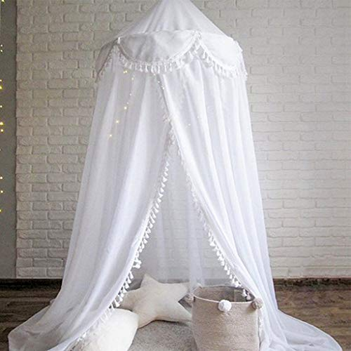 Bed Canopy Round Dome, Chiffon Mosquito Net Indoor Outdoor Playing Reading Tent Bedroom Decoration for Baby Kids Room (White) ()