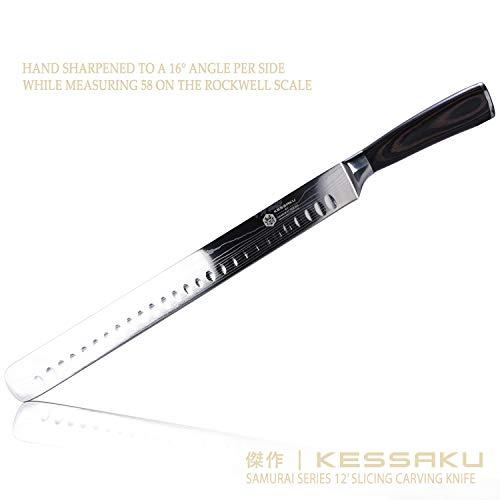 Kessaku Slicing Carving Knife - Samurai Series - Japanese Etched High Carbon Steel, 12-inch by Kessaku (Image #4)