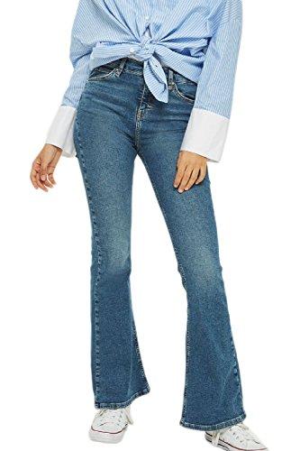 Vintage In Classic Per Fondo Jeans Le Pantaloni Blu Donne Bell Dei Denim BHExxWzZwq