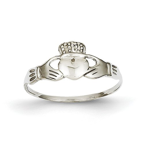 14k White Gold Polished Claddagh Ring - Size 7 - JewelryWeb