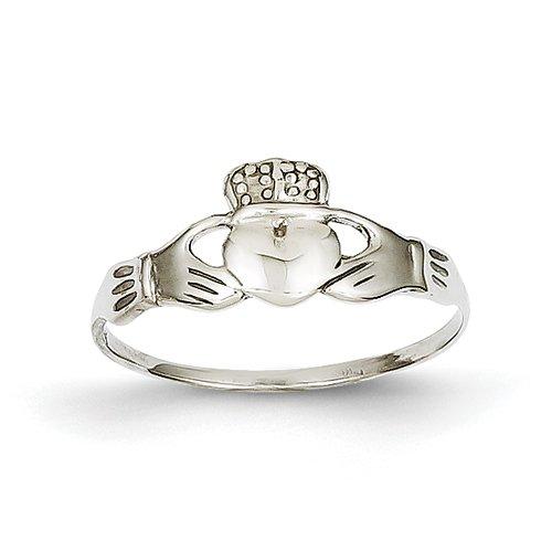 14k White Gold Polished Claddagh Ring - Size 7 - JewelryWeb