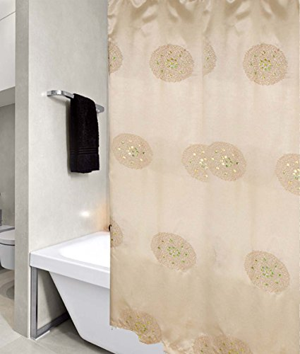 United Linens Sequin Embroidery shower curtain peony Collection (70x72, - Store Adelaide United