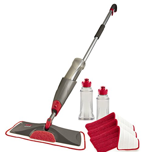 Rubbermaid Reveal Spray Mop Floor Cleaning Kit, Bundles: 1 Mop, 4 Multi-Surface Microfiber Wet Mopping Pads, 3 Refillable Bottles (1892663)