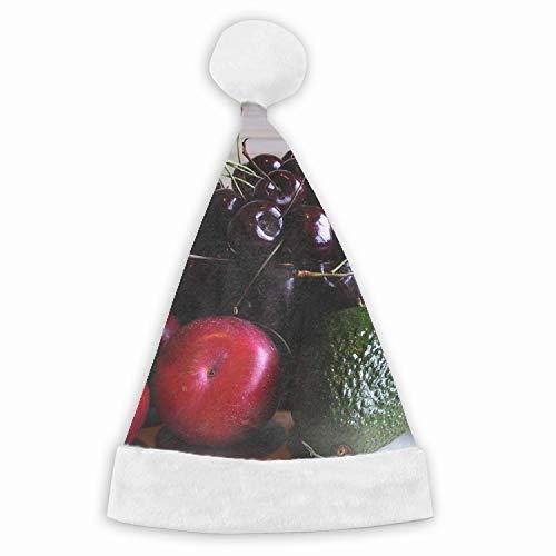 Christmas Hat Avocado Apples Cherries Fruit Hat for Adults and Child Red Velvet Comfort Liner Christmas -