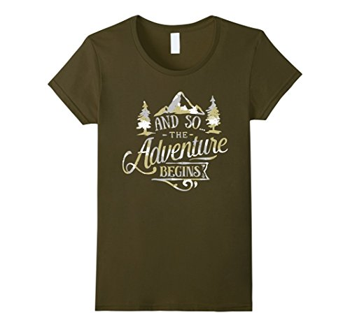 Women's The Adventure Begins Vintage Look Camo T-Shirt  Medium Olive