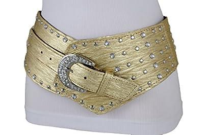 TFJ Women Wide Western Faux Leather Belt Hip Silver Studs Bling Buckle