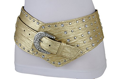 Silver Stud Belt - TFJ Women Wide Western Faux Leather Belt Hip Silver Studs Bling Buckle (L/XL 42