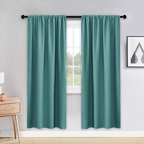 PONY DANCE Blackout Curtain Panels - 42 x 72 inches Long Sea Teal Window Drapes Light Block Room Darkening Draperies Thermal Insulated Energy Saving for Home Modern Style, 2 ()