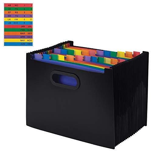 Portable Accordion Folder - File Organizer - 24 Pocket Rainbow Color Expanding File - Plastic Portable Accordion File Organizer - Fits Up to Letter Size Paper - Scrapbook Organizer - Paper Organizer