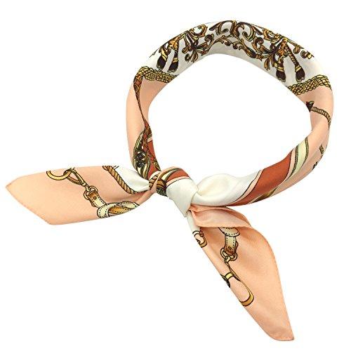 - YOUR SMILE 100% Silk Scarf Women's Fashion Pattern Large Square Satin Headscarf Headdress 24''x24'' (Pink)