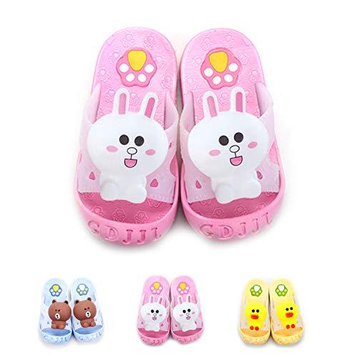 Yanlinmingjing Little Kids Summer Sandals Slide Slippers Anti- Slip Bathroom Slippers for Toddler Girls Boys Beach Sandals Shoes Shower Pool Slippers (10-10.5 M US Little Kid, Pink Rabbit) -