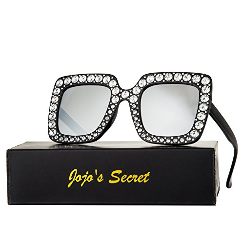 JOJO'S SECRET Crystal Brand Designer Retro Oversized Square Sunglasses For Women JS001 (Black/Silver, - Oversized Crystal