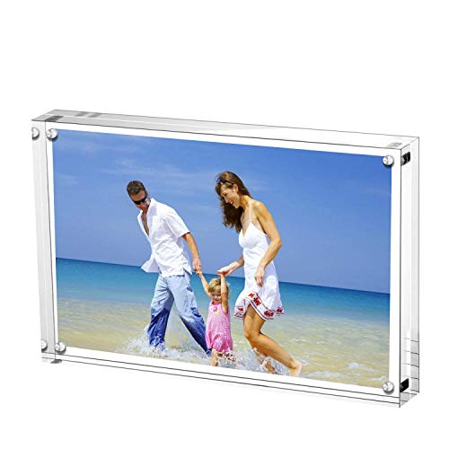 Wellgoods 4 x6 inch Glass Photo Picture Frame Showcase Acrylic Clear Double Sided Block Set Desktop Frameless Magnetic Photo Display Frame for Family