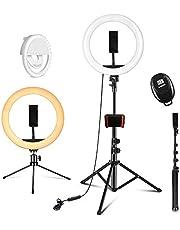 """PEHESHE Ring-Selfie-LED-Leuchte 10"""" mit 63""""-Stativ-Selfie-Leuchte mitTelefonHalterung Ring dimmbareRundleuchtefür Live-Stream/Tiktok/YouTube/Makeup/Fotografie/Video"""