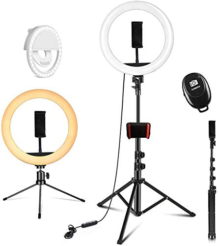 "PEHESHE Ring Selfie LED Light 10"" with 63"" Tripod Stand Selfie Light with Phone Holder Ring Dimmable Circle Light for Live Stream/YouTube/Makeup/Photography/Video"