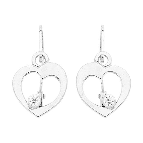 So Chic Jewels - 9k White Gold - Cubic Zirconia Heart Stud Earrings by So Chic Jewels