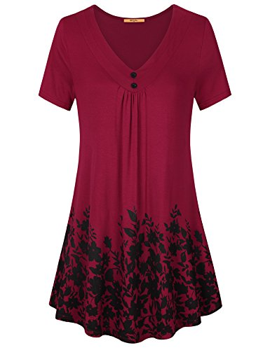 MCKOL Short Sleeve T Shirt Women, Ladies V Neck Floral Printed Tunic Tops Loose Fit A Line T Shirts(Wine,XX-Large) (Heels V-neck)