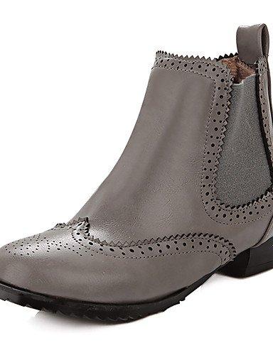 XZZ/ Damen-Stiefel-Outddor / Büro / Lässig-Kunstleder-Blockabsatz-Cowboy / Western Stiefel / Rundeschuh / Modische Stiefel-Schwarz / Rot / Grau gray-us6.5-7 / eu37 / uk4.5-5 / cn37