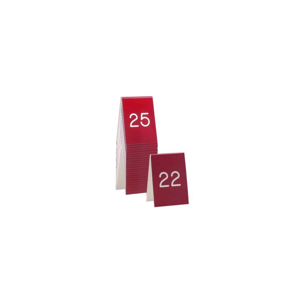 Cal-Mil 271A-1 Engraved Numbers Tents, 3.5'' Width x 5'' Height, Red