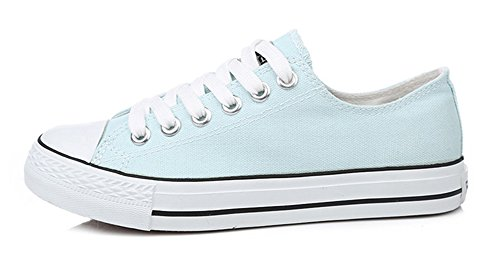 Sfnld Womens Fashion Low Cut Lace Up Sneakers Toile Chaussures Bleu Clair