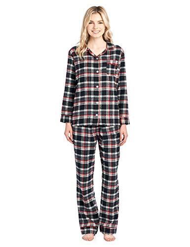 (Ashford & Brooks Women's Flannel Plaid Pajamas Long Sleeve Button Down Pj Set, Black Ivory, 4XL)