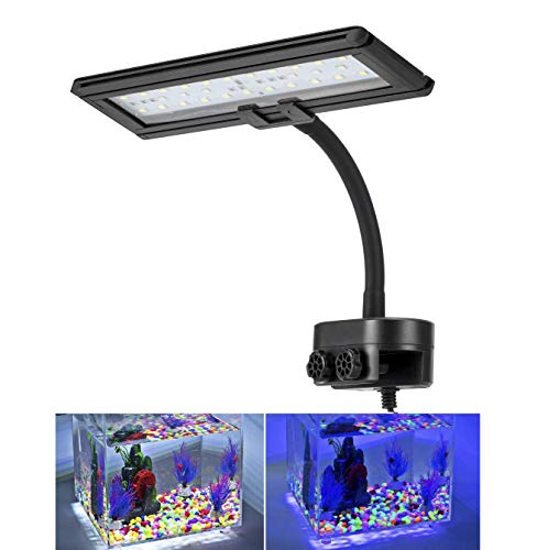 Lighting Blue Aquarium - Hygger Blue White Clip on Aquarium Lights Betta Fish Led Light for Saltwater Tank with Gooseneck Clamp 13-watt
