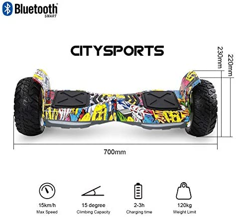 "CITYSPORTS Balance Board Tout Terrain 8.5"", Self-Balancing Scooter Hummer SUV, Bluetooth et APP, 700W"