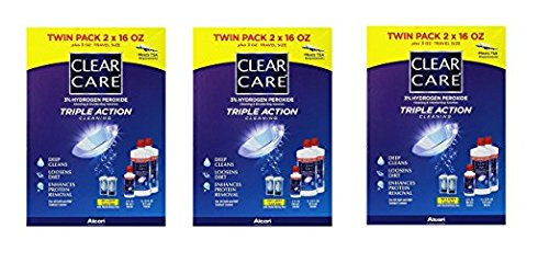 Clear Care 3% Hydrogen peroxide Triple Action Cleaning Triple Action 2x16oz + 3oz Travel Size (3)
