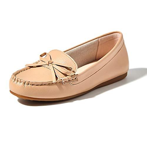 zapatos Zapatillas Yxx Respirables Oxford Perezosos Zapatos Planos Brown Caminar Para Sin Primavera De Cordones Mujer gqqdaUt