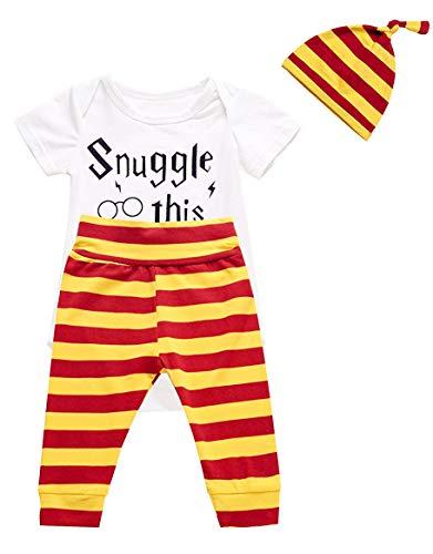 3Pcs/Set Baby Boy Girl Infant Short Sleeve Romper (Bodysuits + Striped Pants + Hat)(Short,9-12 Months)