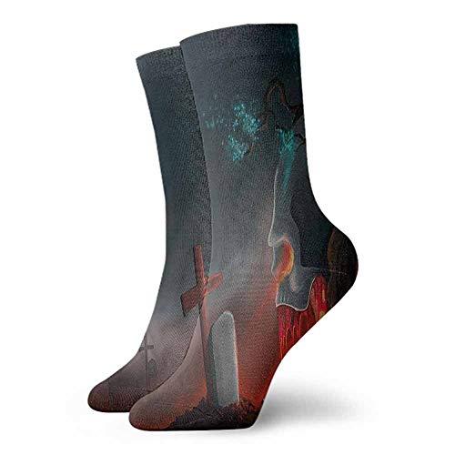 High Ankle Crew Socks Halloween Graveyard Cemetery Tree Unisex Men's & Womens Socks