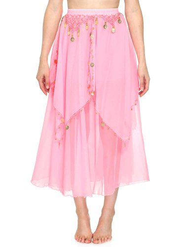 Simplicity Long Sheer Flowy Chiffon Belly Dance Skirt Costume Dancewear, Pink (Dance Costumes On Line)