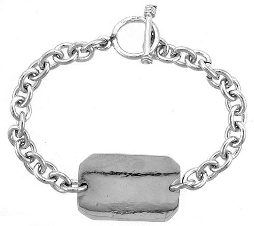 Sterling Silver Medical Emergency Bracelet Rectangular Plaque Toggle Clasp, 3/4 inch wide, 9 inch