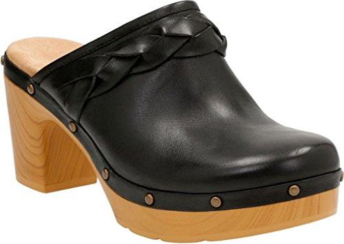 CLARKS Womens Ledella Meg Clog Black Leather