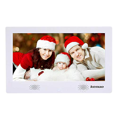 Digital Picture Photo Frame with IPS Display High Resolution HD 1024×600(16:9) Eletronic Picture Frame with Video Player Stereo MP3 Calendar Auto On/Off Timer 10 inch-White