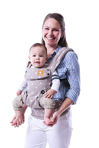 Baby Tula Explore Baby Carrier, Adjustable Newborn to Toddler Carrier, Ergonomic and Multiple Positions for 7 – 45 pounds – Sleepy Dust (Gray with White Triangles)